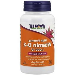 NOW Foods High Potency Vitamin D-3 1000 IU 180 Softgels, FRE
