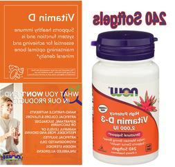 NOW Foods Vitamin D-3 2,000 IU 240 Softgels. FREE SHIPPING.